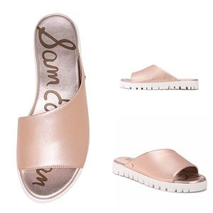 Sam Edelman Leia Rose Gold Slide Sandals sz 8 NWT